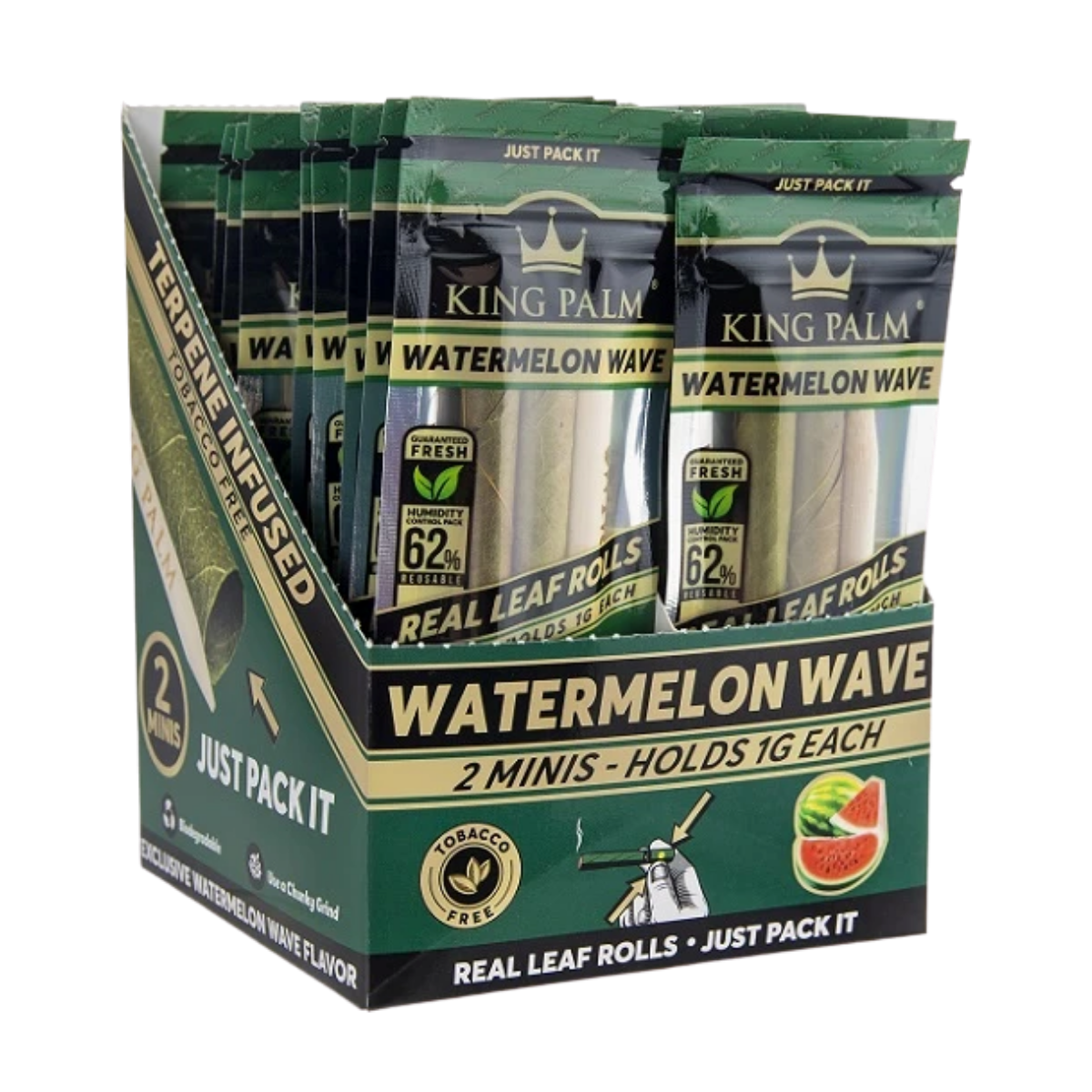Full Box King Palm Super Slow Burning Wraps Pack with 2 Mini Rolls - Watermelon Wave Flavour - Holds 1g each - The Green Box Australia