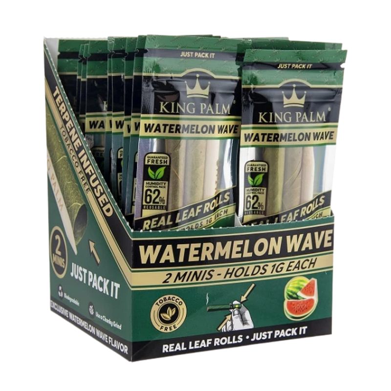 Full Box King Palm Super Slow Burning Wraps Pack with 2 Mini Rolls - Watermelon Wave Flavour - Holds 1g each - The Green Box