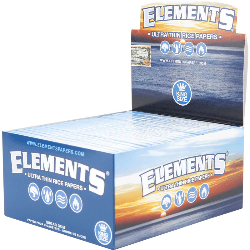 Full Box - Elements Ultra Thin Rice Rolling Papers Kingsize - The Green Box Australia (4377424789539)