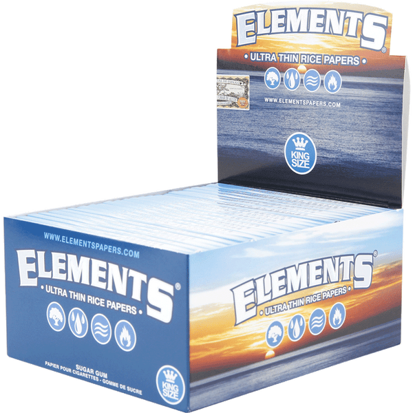 Full Box - Elements Ultra Thin Rice Rolling Papers Kingsize - The Green Box Australia