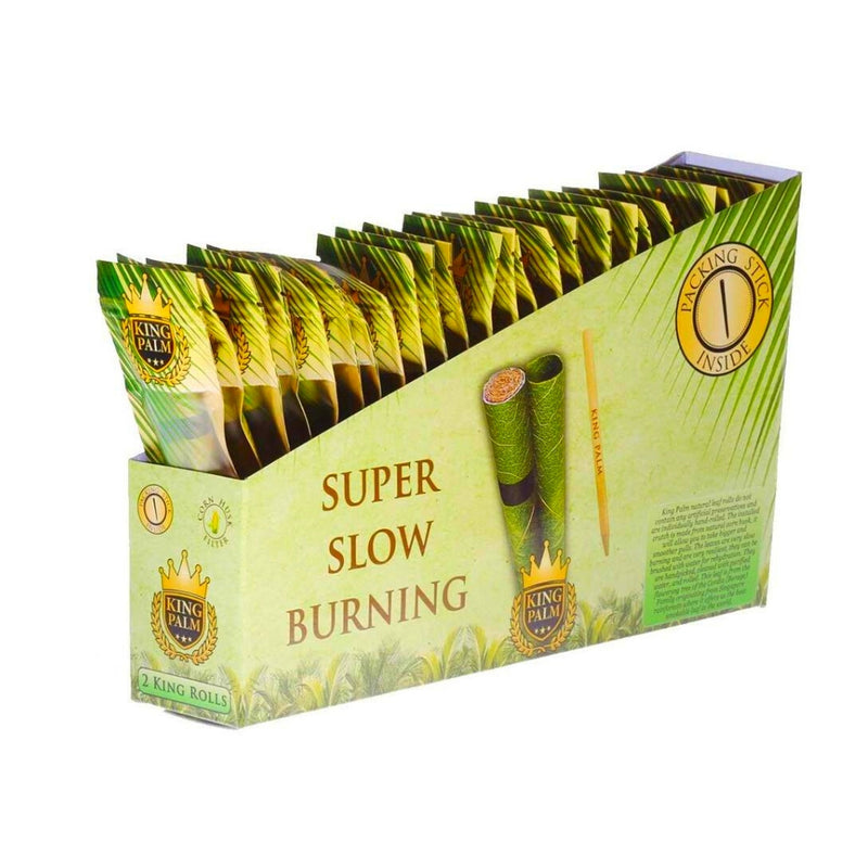 Full Box - King Palm Super Slow Burning Wraps Pack with 2 King Rolls - Holds 2 Grams each - The Green Box