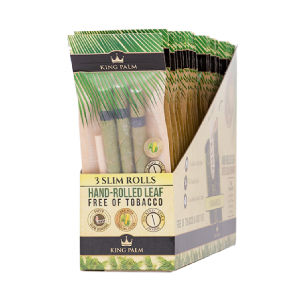 Full Box - King Palm Super Slow Burning Wraps Pack with 3 Slim Rolls - Holds 1.25g each - The Green Box Australia (1570828058660)