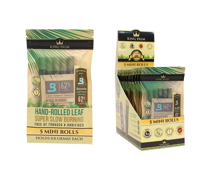 Full Box - King Palm Super Slow Burning Wraps Pack with 5 Mini Rolls - Holds 0.8g each - The Green Box Australia