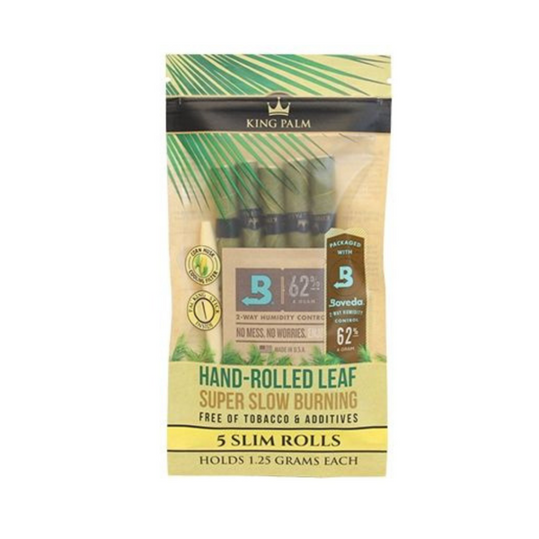 King Palm Super Slow Burning Wraps Pack with 5 Slim Rolls - Holds 1.25 Grams each - The Green Box Australia (4336245800995)