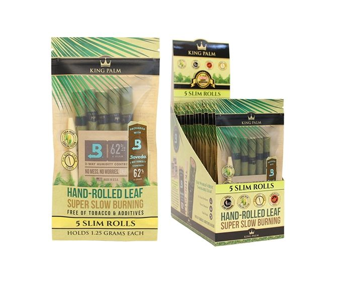 Full Box - King Palm Super Slow Burning Wraps Pack with 5 Slim Rolls - Holds 1.25g each - The Green Box Australia (4439311024163)