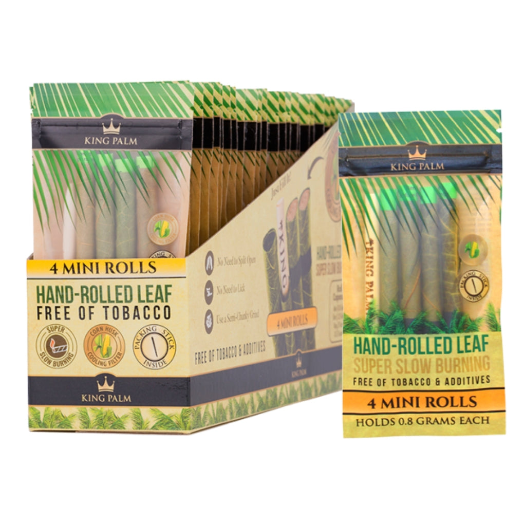 Full Box - King Palm Super Slow Burning Wraps Pack with 4 Mini Rolls - Holds 0.8g each - The Green Box Australia