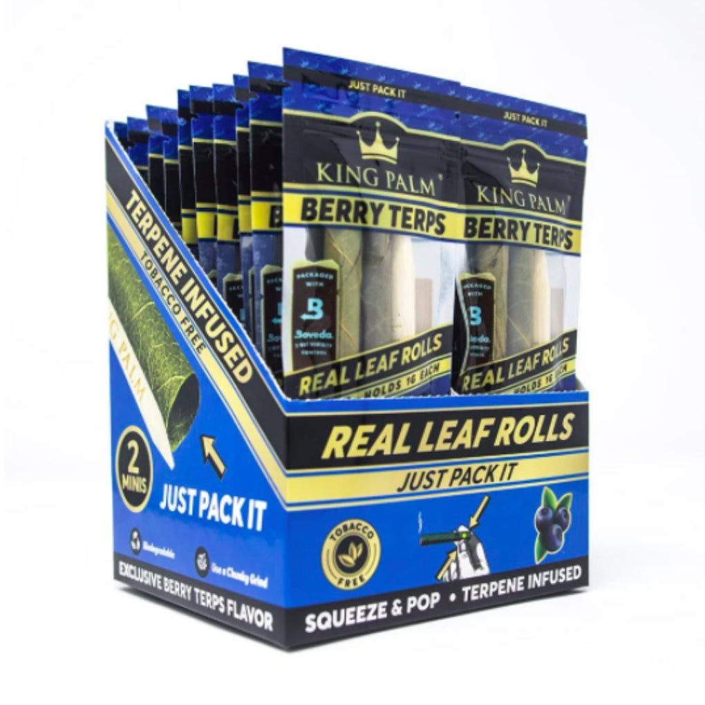 Full Box - Berry Terp King Palm Super Slow Burning Wraps Pack with 2 Mini Rolls - Holds 1g each - The Green Box Australia (4553500819491)