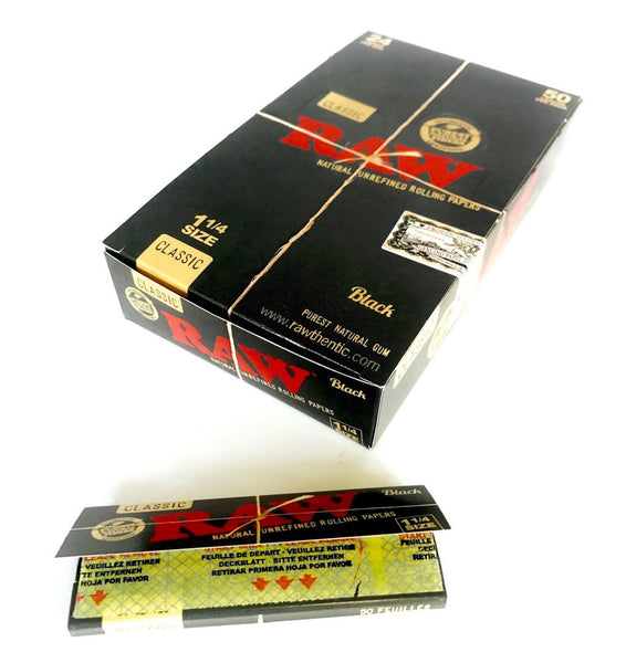 Full Box - Raw 1 1/4 Classic Black Rolling Papers - The Green Box Australia