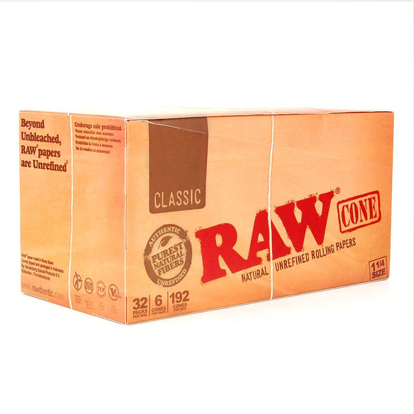 Full Box Raw 1 1/4 Classic Cones - 6 per Pack - 32 packs display - The Green Box Australia