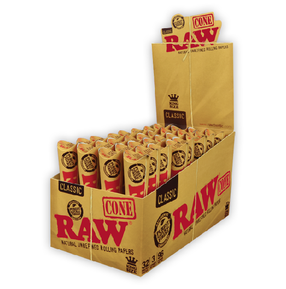 Full Box - Raw Kingsize Classic Cones - 3 per Pack - 32 Packs Display - The Green Box Australia (4615099416611)
