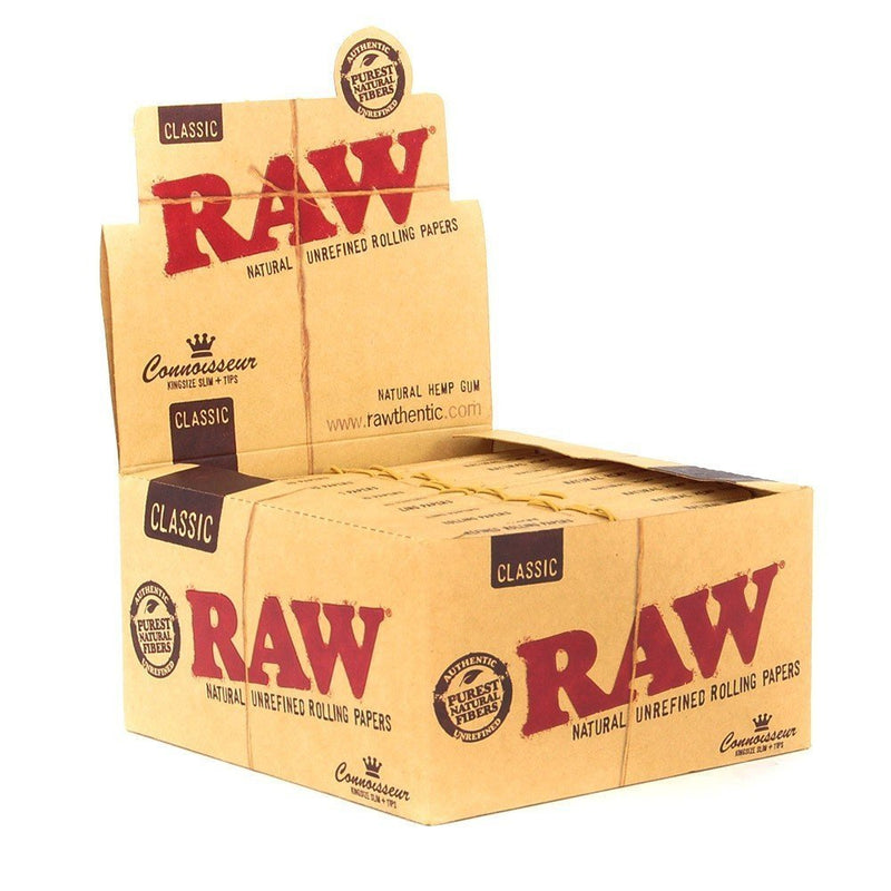 RAW Classic Connoisseur Regular Kingsize Slim Rolling Papers With Tips - The Green Box