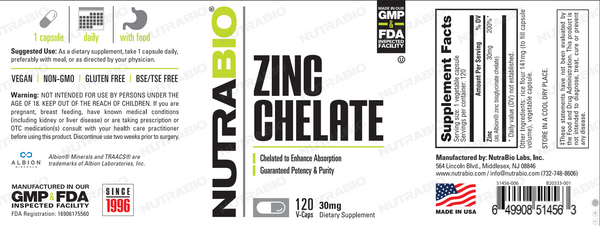 Zinc Chelated (30mg) 120 Vegetable Capsules