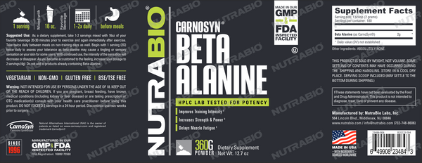 Beta Alanine (CarnoSyn) Powder - 360 Grams