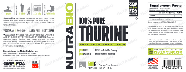 Taurine Powder - 500 grams