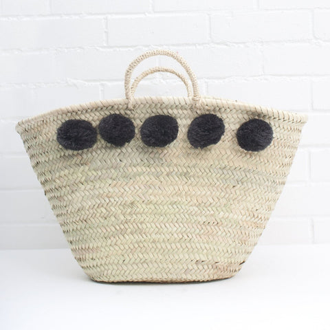 Bohemia - Large Pom Pom Basket (black)