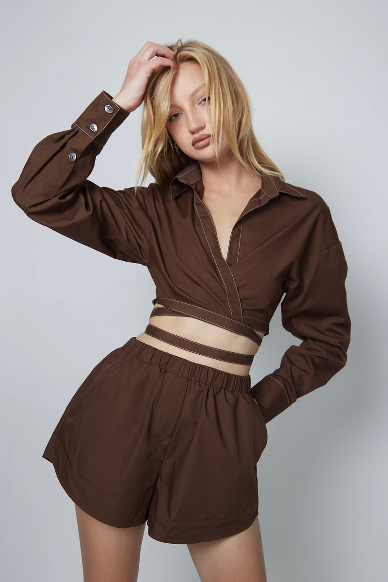 MIAMI WRAP SHIRT BROWN