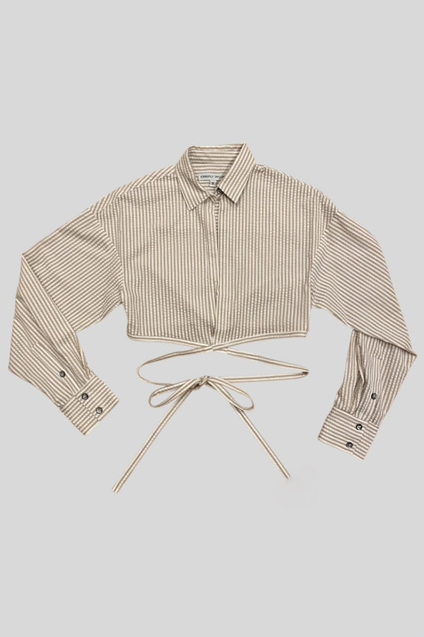 MIAMI WRAP SHIRT SAND/WHITE
