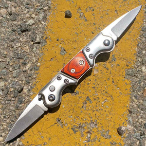 "Mini Dual Auto Knife Wooden (2"" Blade)"