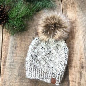 Little Hearts Adult Custom Order Toque with Faux Fur Pompom