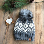 Luxury Hensley Beanie Peruvian Wool Ready to Ship Spotted Dark Grey/Natural