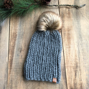 Luxury Muskoka Peruvian Highland Wool Ribbed Toque Dark Spotted Grey