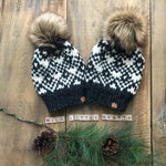 Wild Little Hearts Adult Colourwork Hand Knit Beanie Toque Faux Fur Pompom