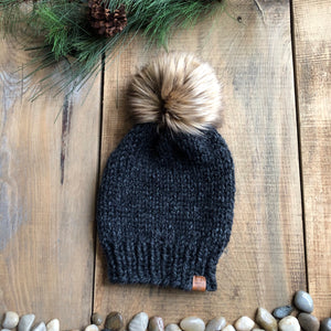 Killarney Adult Custom Order Toque Slouchy Beanie with Faux Fur Pom