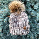 Luxury Muskoka Merino Beanie Toque Pompom Whole Grain