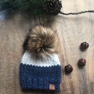 Baby 6-12 Months Luxury Killarney Toque Natural and Denim Peruvian Highland Wool