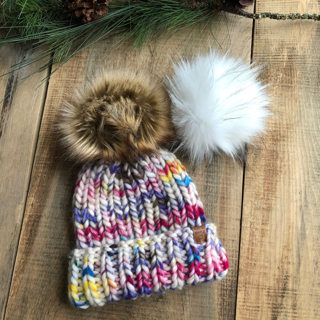 Luxury Muskoka Peruvian Highland Wool Hand Painted Sprinkles Toque or Slouchy Beanie