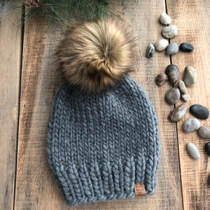 Luxury Killarney Adult Ready to Ship Peruvian Highland Wool Slouchy Beanie Toque Dark Spotted Grey