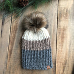 Luxury Nokhu Peruvian Highland Wool Beanie Spotted Dark Grey, Taupe, Natural