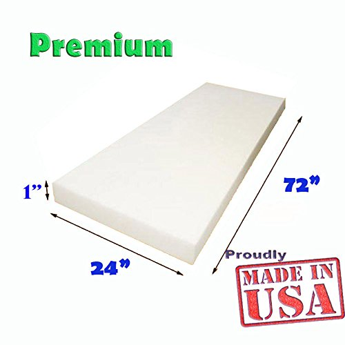 "1"" x 24""x 72"" Upholstery Foam Cushion (Seat Replacement , Upholstery Sheet , Foam Padding)"
