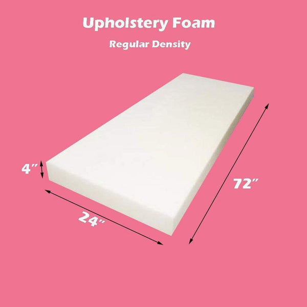 "Mybecca Upholstery Foam Regular Density Foam Sheet 4"" X 24"" X 72"""
