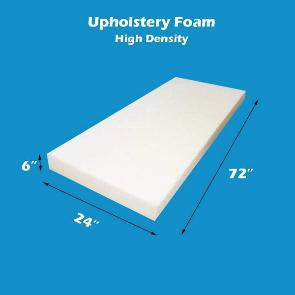 "Mybecca Upholstery Foam Cushion High Density (Seat Replacement, Sheet, Padding), 6"" H X 24"" W x 72"" L"