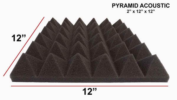 [Mybecca] 4 PACK Premium Acoustic Pyramid Soundproofing Wall Tiles 12 X 12 X 2 inch, Made in USA