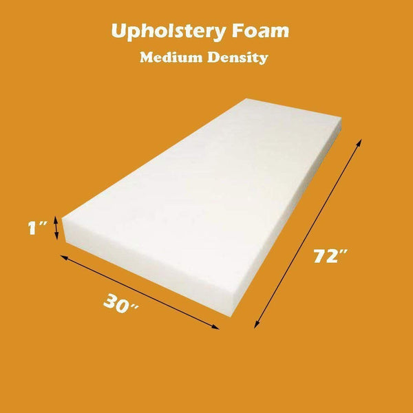 "1"" H x 30"" W x 72"" L Upholstery Foam Cushion Seat Replacement Upholstery Sheet Foam Padding"