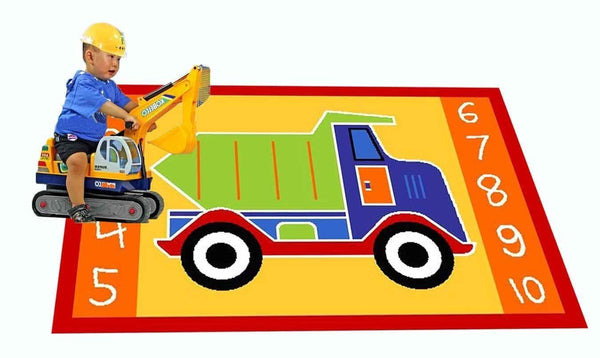 MYBECCA's Playtime Kids Rug DUMP TRUCK Playtime Area Rug 3ft X 5ft for Nursery and Playroom