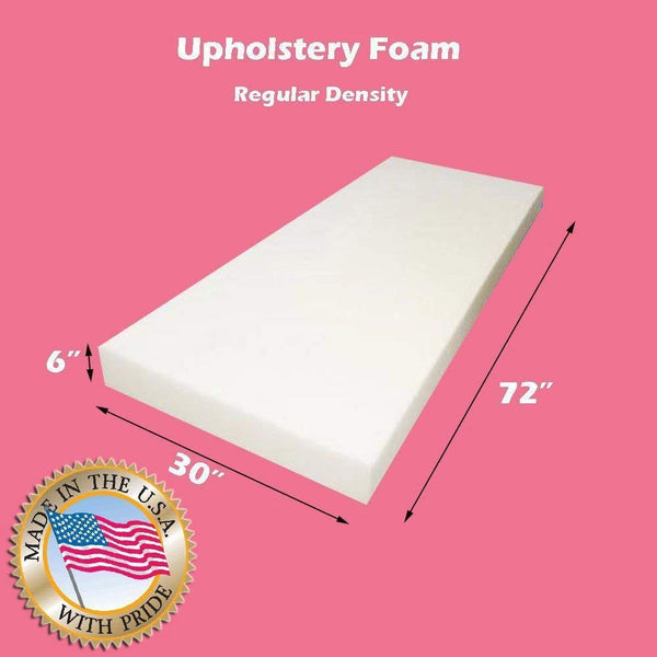 "Mybecca Upholstery Foam Cushion Regular Density 6"" L x 30"" W x 72"" H"