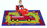 MYBECCA's Kids Rug Junior FIRE FIGHTING TRUCK Playtime Area Rug 3ft X 5ft for Nursery and Playroom