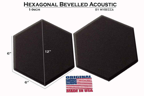Mybecca [48 PACK] Acoustic HEXAGONAL Bevelled Tiles Soundproofing Wall Panels 2 inches by 12 inches, Made in USA