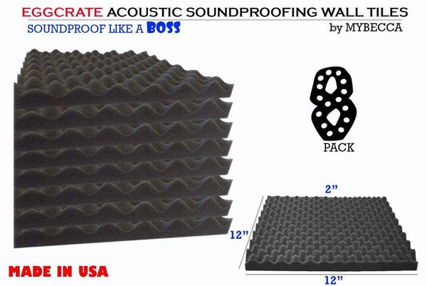Mybecca 8 PACK Premium 2-inch EGGCRATE Convoluted Acoustic Foam Wall Panel Studio Soundproofing Wall Tiles 12 X 12 Inches, Made in USA