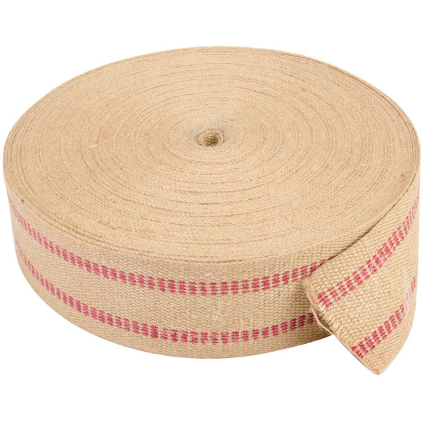 "Brand New Jute Webbing 3.75""X72yd-Natural W/Red Line Brand New"