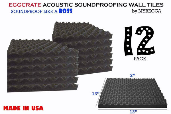 12 PACK Premium EGGCRATE Convoluted Acoustic Foam Wall Panel Studio Soundproofing Wall Tiles 1.5 X 12 X 12 Inches, Made in USA
