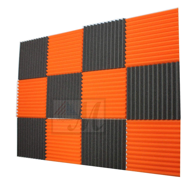 "12 - Pack Charcoal/Orange Acoustic Panels Studio Foam Wedges 1"" X 12"" X 12"""