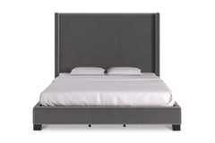Beacon Upholstered Bed GREY VELVET