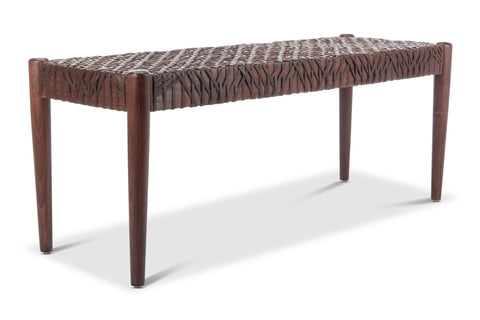 Evans Leather Bench