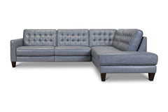 Toranado 2pc Leather Sectional with Power Foot Rest :: Configuration: RAF - Chaise on the Right