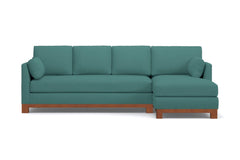 Avalon 2pc Sleeper Sectional :: Leg Finish: Pecan / Sleeper Option: Memory Foam Mattress / Configuration: RAF - Chaise on the Right