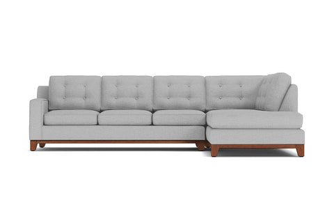 Brentwood 2pc Sleeper Sectional :: Leg Finish: Pecan / Configuration: RAF - Chaise on the Right / Sleeper Option: Memory Foam Mattress